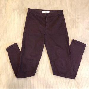 topshop joni jeans in purple
